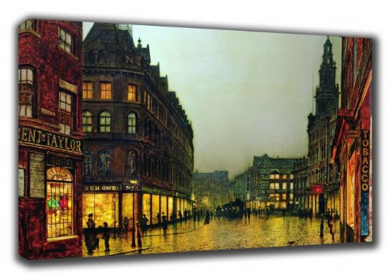 Grimshaw, John Atkinson: Boar Lane, Leeds. Victorian Scene, Fine Art Canvas. Sizes: A3/A2/A1. (003233)